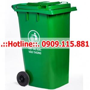 Thùng rác nhựa 240 Lít màu xanh nắp kín