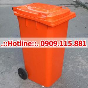 Thùng Rác Nhựa 240 Lít HDPE Nắp Kín Màu Cam