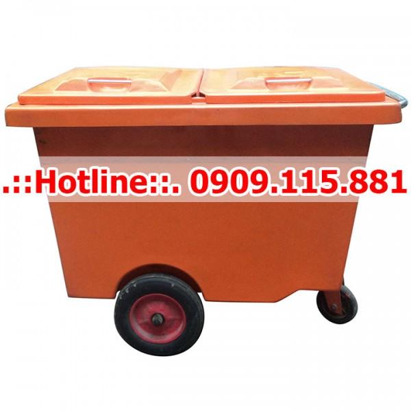 Xe Thu Gom Rác 660 Lít 3 Bánh Xe Đặc Nhựa Composite